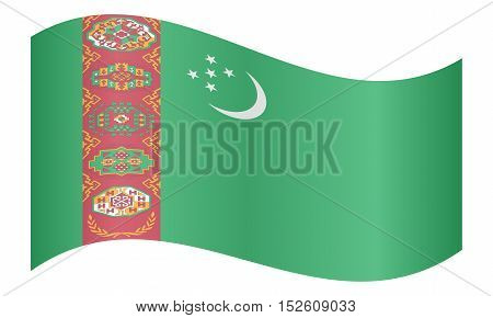 Turkmen national official flag. Patriotic symbol banner element background. Correct colors. Flag of Turkmenistan waving on white background vector illustration