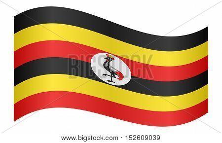 Ugandan national official flag. African patriotic symbol banner element background. Correct colors. Flag of Uganda waving on white background vector illustration