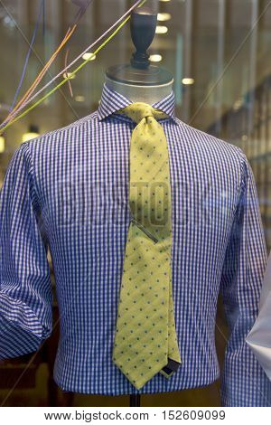 Clothing store shirt and tie, window shopping in New York