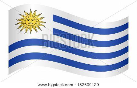 Uruguayan national official flag. Patriotic symbol banner element background. Correct colors. Flag of Uruguay waving on white background vector illustration