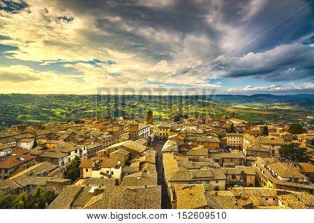 Orvieto medieval town panoramic aerial view. Umbria Italy Europe.