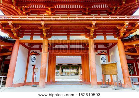 Traditional buddhist temple entrance in Nara Japan