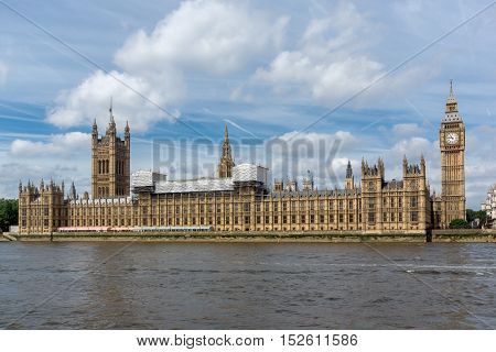 Panorama of Houses of Parliament, Palace of Westminster,  London, England, Great Britain