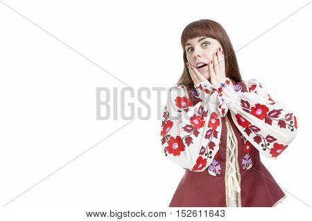 Natural Portrait of Caucasian Emotional Female Demnonstrating Negative Facial Exclamation.Against White.Horizontal Shot