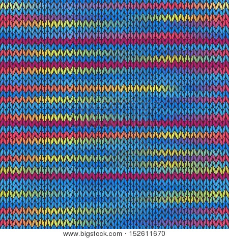 Style Seamless Knitted Melange Pattern. Blue Yellow Red Color Vector Illustration
