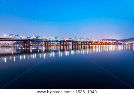 Dongjak bridge over the Han river at night in Seoul