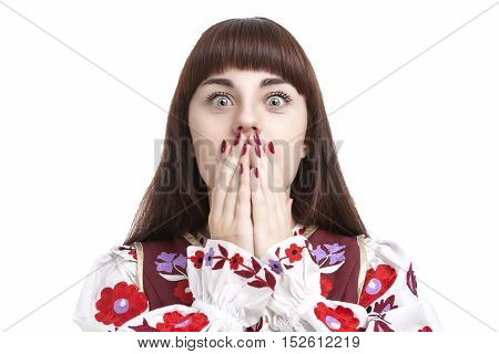 Natural Portrait of Frightened Caucasian Female. Posing with Hands Closing Mouth. Against Pure White. Horizontal Image