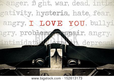 Typewriter written message with the phrase I Love You
