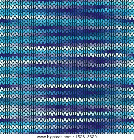 Style Seamless Knitted Melange Pattern. Blue Violet White Color Vector Illustration