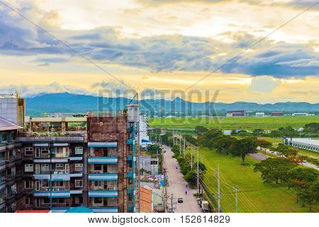 Landscape of Angeles city during sunset in the Philippines