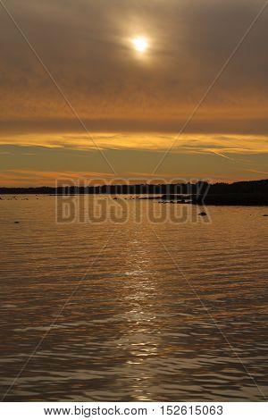 Scandinavian sunset in Kalmar on a hazy evening