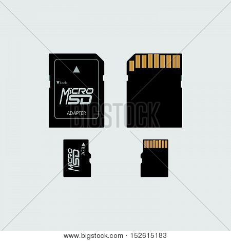 Vector Of Flat Icon Micro Sd Connector On Background