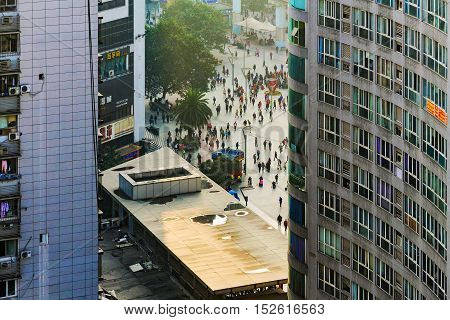 CHONGQING CHINA - DECEMBER 29: This is a view of Yangjiaping pedistrian street which is a famous shopping area and busy district on December 29 2014 in Chongqing.