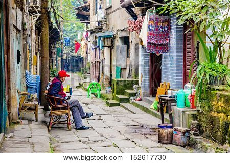 CHONGQING CHINA - DECEMBER 30: This is a traditional chinese town within the city of Chongqing where you can see old chinese houses on December 30th 2014 in Chongqing.