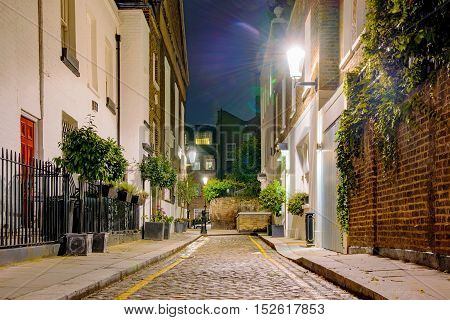 Residential area at night in Chelsea London