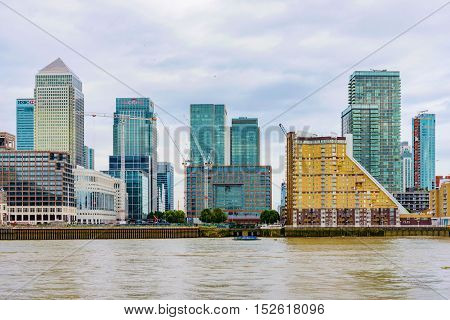LONDON - AUGUST 2016: This is a view of Canary Wharf which is London's main financial district and has many international banks such as HSBC and Citi bank on August 11th 2016 in London.