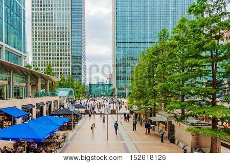 LONDON - AUGUST 2016: This is Reuters Plaza in Canary Wharf financial district. The plaza has many shops and restaurants nearby and is situated outside Canary Wharf station on August 11th 2016 in London.