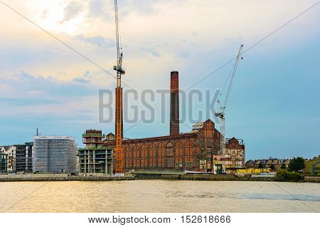View of Battersea power station during sunset