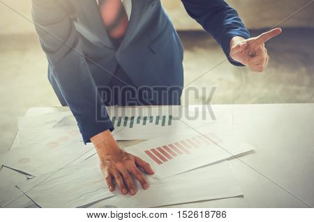 Bossy Business Man Talking And Discussing While Pointing Finger At Other Colleage And Worker On The