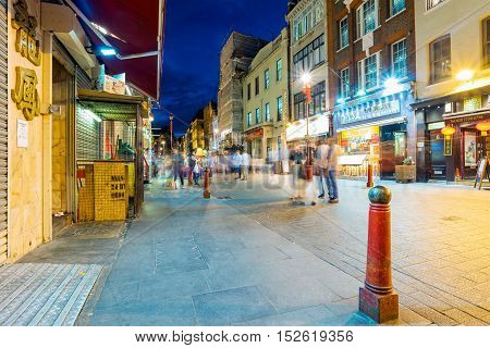 LONDON - SEPTEMBER 08: Night view of the famous Gerrard street which is the main street of London's chinatown at night on September 8th 2016 in London