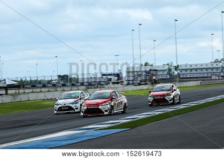 BURIRAM THAILAND - October 9 2016: Race Support Toyata Motorsport in Super GT Series 2016 round 7 in Thailand at Chang International Circuit in Buriram United.