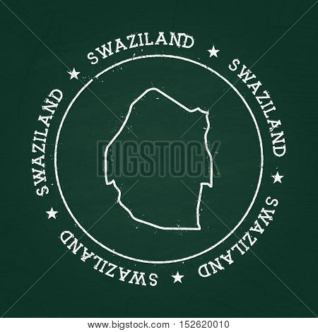 White Chalk Texture Rubber Seal With Kingdom Of Swaziland Map On A Green Blackboard. Grunge Rubber S