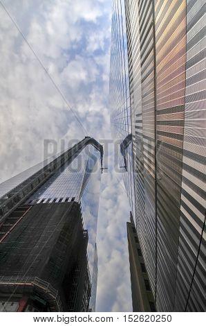 New York City - November 20 2011: World Trade Center complex under construction in lower Manhattan.