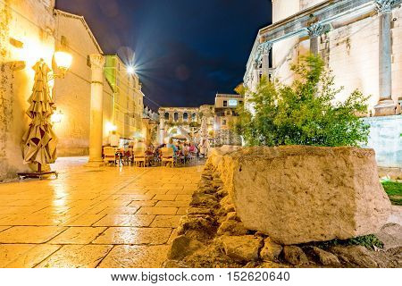 SPLIT CROATIA - SEPTEMBER 17: Cafe area in Split old town outside Diocletian's palace a popular landmark on Seteptember 17 2016 in Split