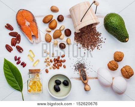 Selection Food Sources Of Omega 3 . Super Food High Omega 3 And Unsaturated Fats For Healthy Food. A