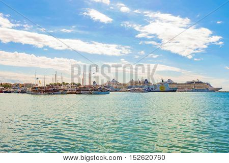 SPLIT CROATIA - SEPTEMBER 17: Harbor area of Split with cruise ships and boats on a sunny day on September 17 2016 in Split