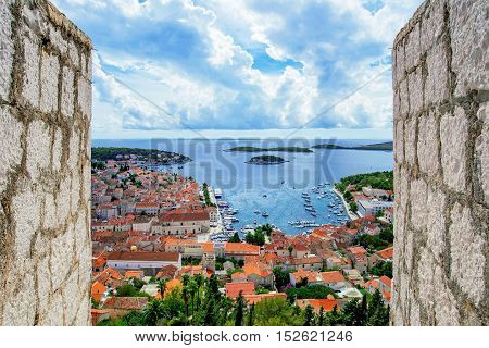 View of Hvar Island from Spanjola fortress walls