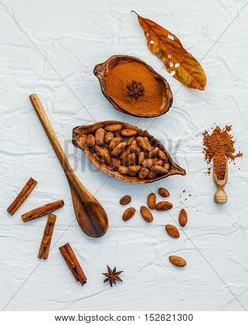 Desserts Background And Desserts Menu Design . Brown Chocolate Powder In Spoon . Roasted Cocoa Beans