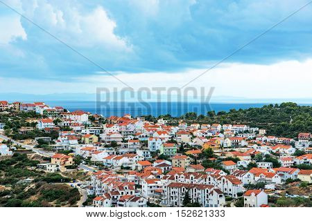 Scenic view of residential area on Hvar island