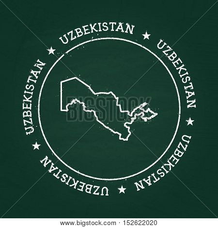 White Chalk Texture Rubber Seal With Republic Of Uzbekistan Map On A Green Blackboard. Grunge Rubber