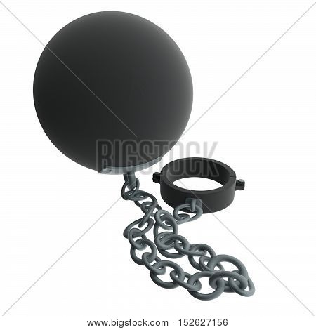 A 3d rendering of a ball and chain.