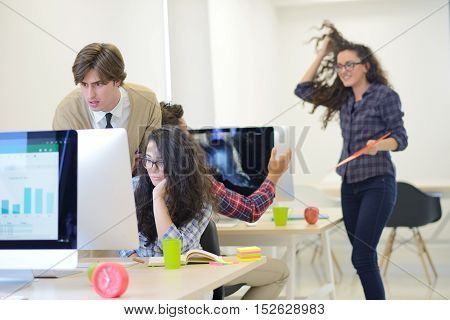 Business man at startup office having concerns about work