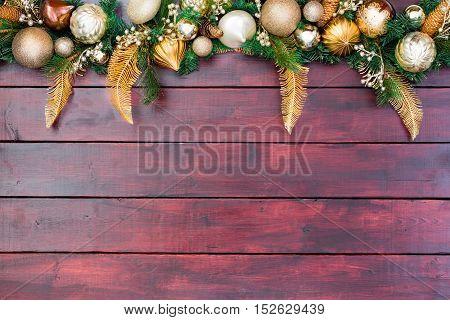 Pretty Christmas Border Wreath Atop Wood