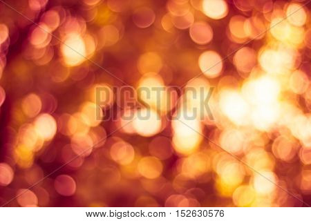 Blurred nature background. Backdrop with red color and bright sunlight. Summer holidays concept. bokeh background or Christmas background.
