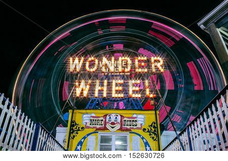 coney island wonder wheel long exposure during the summer