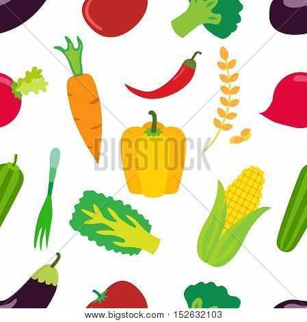 Vegetables pattern. Flat icons set of carrot laminaria pepper cereal and other. Vector isolated illustration.