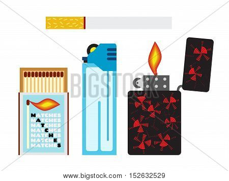 Vector illustration of matches cigarette and two lighters. Isolated icons for design marketing.