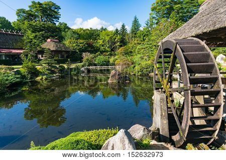 Oshino Japan - September 2 2016: Japanese traditional thatch roof farmhouses and pond with crystal clear water and water wheel. Fuji Five Lakes Japan