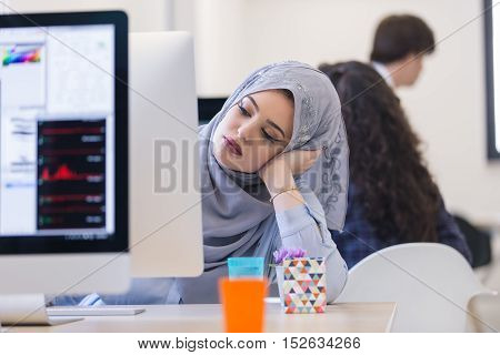 Young Middle Eastern Businesswoman Working In Office