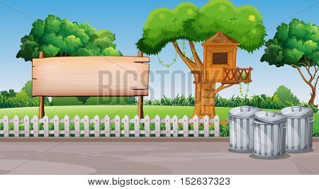 Scene with treehouse in the park illustration