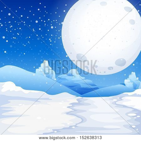 Scene with fullmoon on snowy night illustration