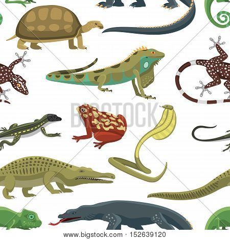 Reptile and amphibian seamless pattern of white background. Colorful fauna illustration snake predator reptiles animals. Reptiles animals crocodile silhouette collection exotic cartoon set.