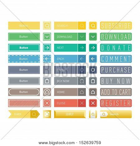 Web elements site buttons and vector shop button set. Design sign buy element shop button and label ui ux buttons. Business banner symbol shop buttons graphic. Square and circle web button.