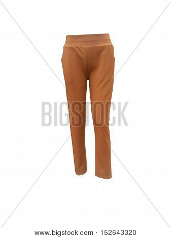 brown long trousers on isolated white background