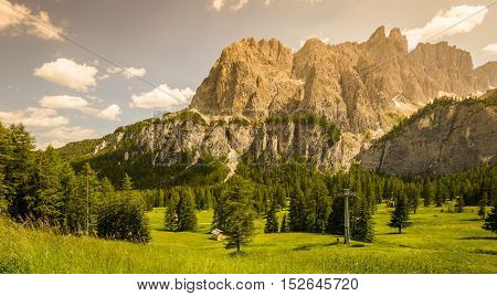 Picturesque Dolomites landscape in summer time. Italy