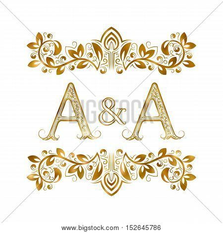 A&A vintage initials logo symbol. Letters A and A ampersand surrounded floral ornament. Wedding or business partners initials monogram in royal style.